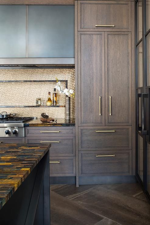 Brown Oak Kitchen Cabinets Accented