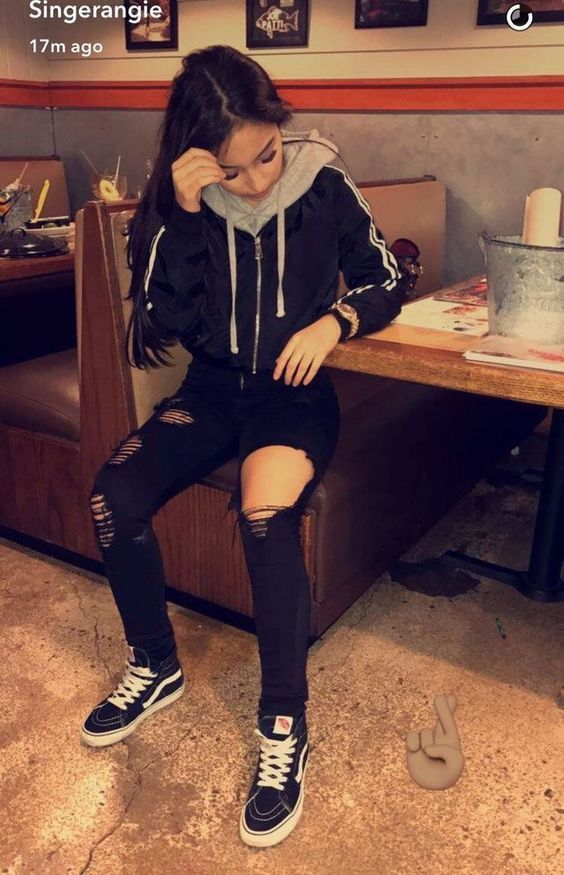 Fashion Outfit In All Black With A Hoodie Ripped Jeans And Vans