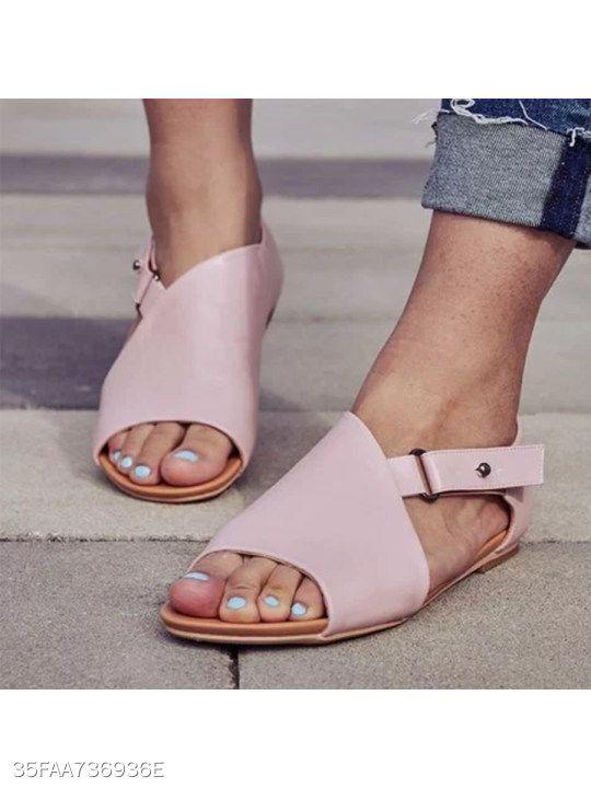 Plain Flat Peep Toe Casual Date Flat Sandals | Buckled heels