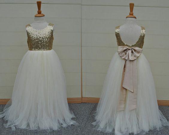 gold and white flower girl dress