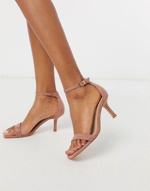 Glamorous Square Toe Kitten Heeled Sandal In Blush Pink Asos In 2020 Kitten Heel Shoes Embellished Heeled Sandals Kitten Heel Sandals