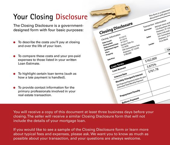 Your Closing Disclosure Mortgages Pinterest - loan estimate form