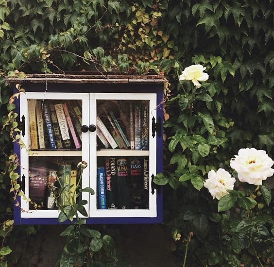 A beautiful Little Free Library covered in ivy provides inspiration for bookworms and gardeners alike.