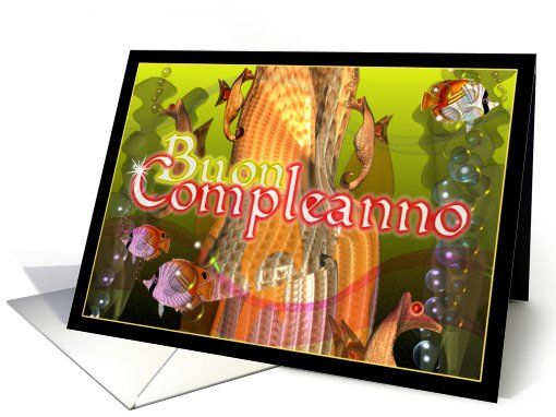 Italian blank card with underwater seahorse to say Happy Birthday – Happy Birthday Greetings in Italian