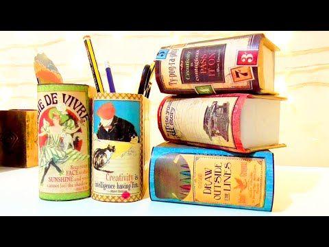 TUTORIAL Manualidades regreso a clase: organizadores de escritorio en forma de libro DIY | Isa ❤️ - YouTube