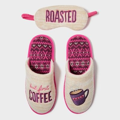 Women's Dearfoams Slide Slippers - Oatmeal Heather XL (11-12)