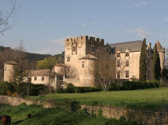 Le château d'Allemagne-en-Provence date pour l'essentiel des 15° et 16°s. On le voit dans les grandes et remarquables baies à mi-chemin entre l'art gothique et celui de la Renaissance. Dans ce pays des tuiles rondes, les hauts combles couverts d'ardoises soulignent le caractère seigneurial de cette résidence