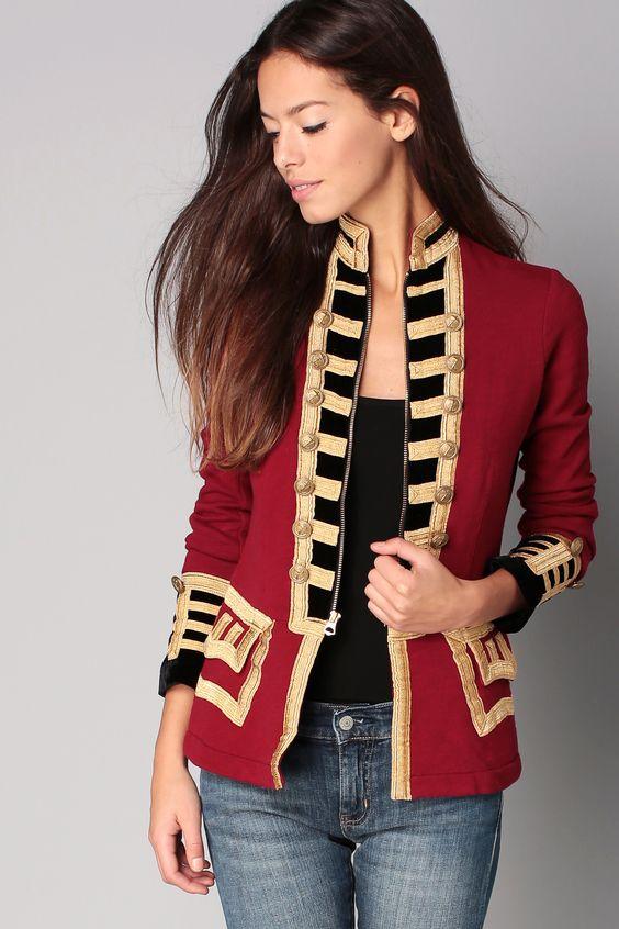 Veste rouge et dorée Officier Denim and Supply by Ralph Lauren sur MonShowroom.com