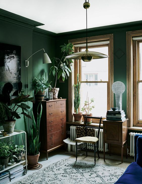 The Nordroom - Green Plant-Filled Living Room in The Color-Blocked London Home of Interior Stylist Laura Fulmine