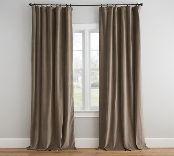 Velvet Twill Curtain Porcini With Images Curtains Drapes Curtains Velvet Curtains