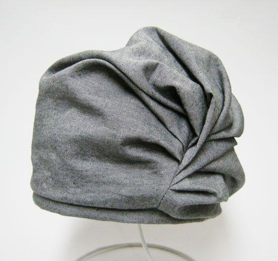 カスタムオーダー例 たっぷりドレープを寄せた女性らしいワッチキャップ ターバン帽子 ニット帽 作り方 帽子 作り方