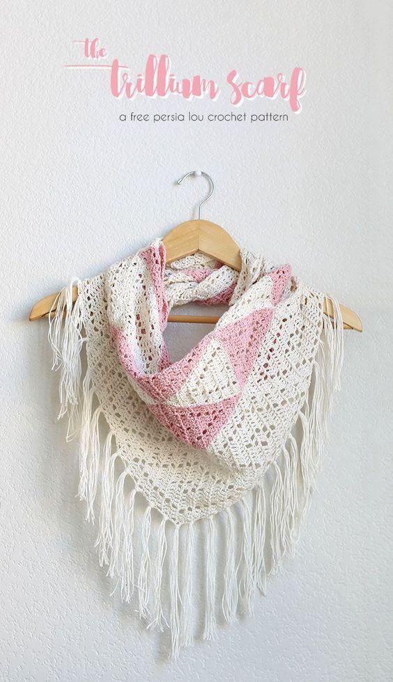 The Trillium: Geometric Triangle Scarf Crochet Pattern | Patrones ...