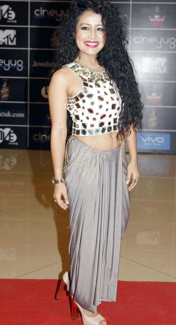 Neha Kakkar In Grey Skirt Top Neha Kakkar Style Skirt Top Plain Skirt With Mirror Work Neha Kakkar Dresses Designer Party Wear Dresses Designer Dresses Indian