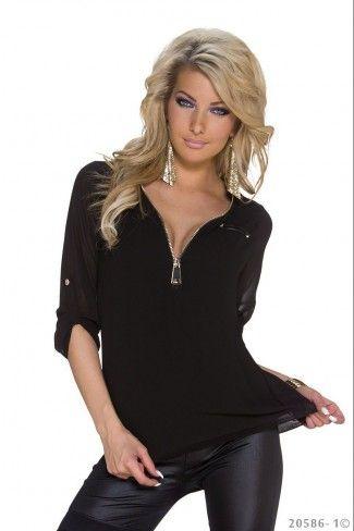 Σιφόν μπλούζα με δαντέλα - Μαύρο