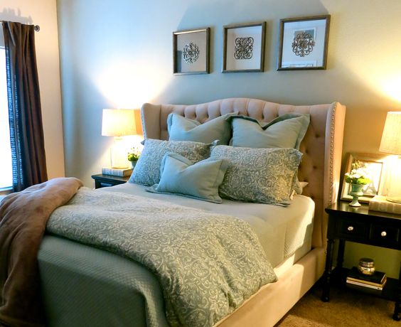 beautiful master bedroom retreat with z gallerie tufted bed