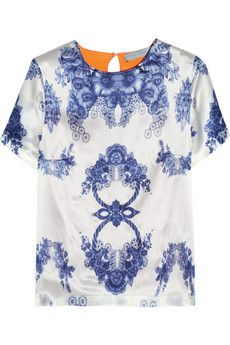 great pattern and color combo for a simple blouse