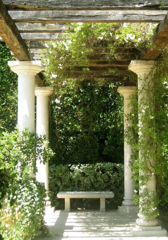 Tuscan mediterranean trellis arbor pergolas for Vegetable garden pergola