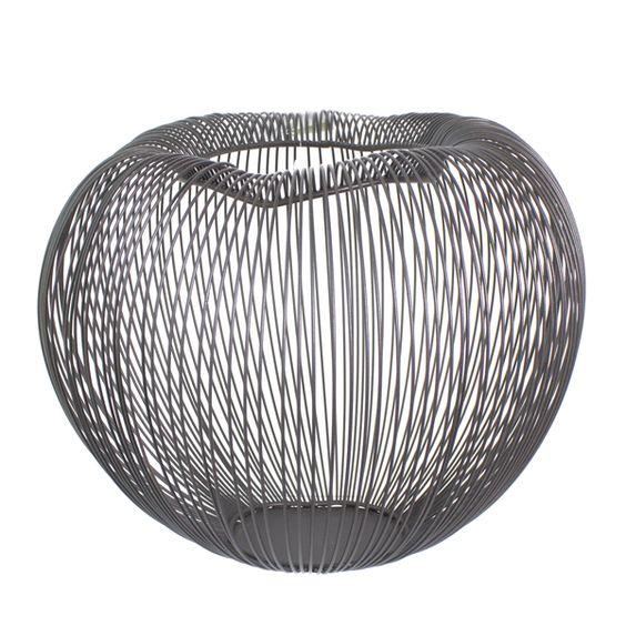 Surprenant vase contemporain fait de tiges métal noir 11x10,6x9,1''
