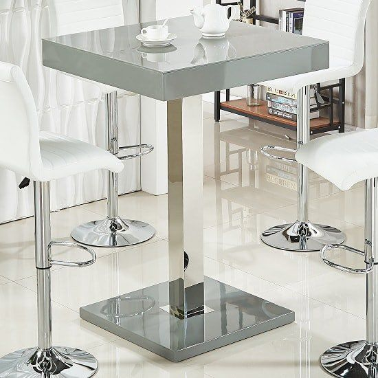 Topaz Glass Top Bar Table In Grey High Gloss And Stainless Steel Furniture In Fashion Glass Bar Table Bar Height Dining Table Stainless Steel Furniture