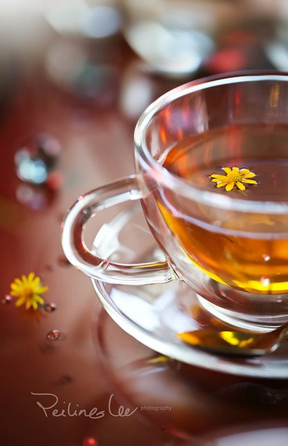 tea time! :: photo by twomeows (Flickr)  ||  clear tea cup | floating yellow flower