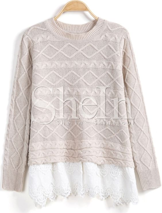 Apricot Long Sleeve Cable Contrast Lace Sweater -SheIn(Sheinside) - $36