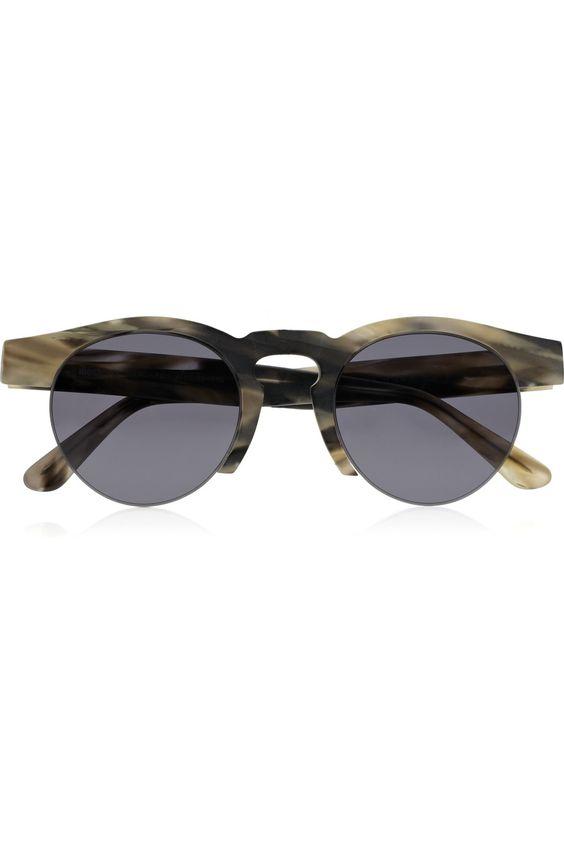 Bottom Rimless Glasses : Illesteva Leonard rimless-bottom round-frame matte-acetate ...