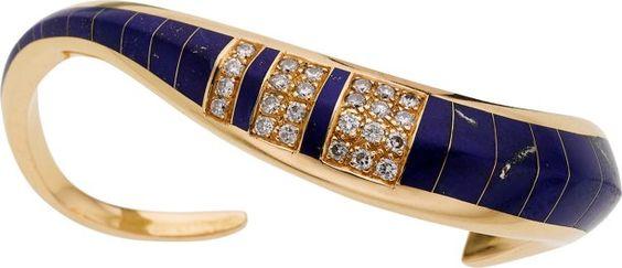 Estate šperky: náramky, lapis lazuli, Diamond, zlatý náramek.  ...
