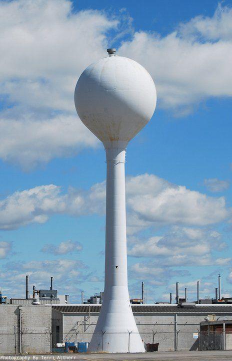 Chrysler plant gas or water tower in Kokomo, Indiana.