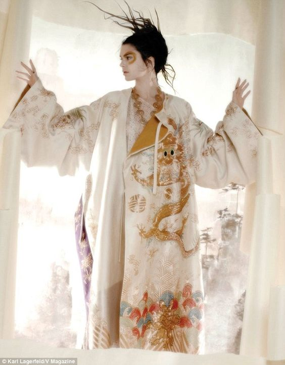 Yellowface? Kendall tapped into her inner-Geisha during the romantically stark shoot, in w...: