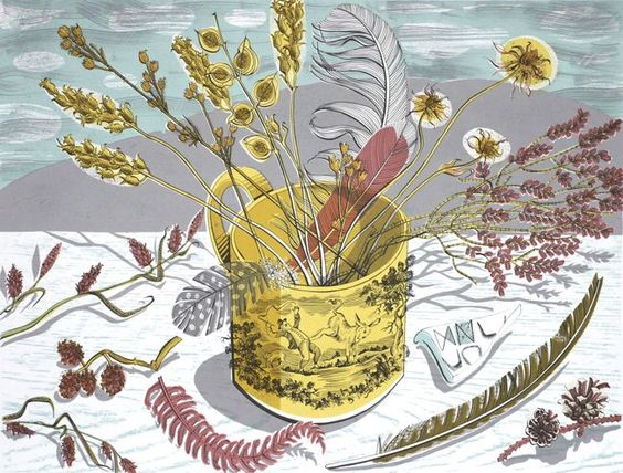 Angie Lewin, Yellow Cup    * Limited edition screenprint * 45cm high by 60cm long * unmounted print