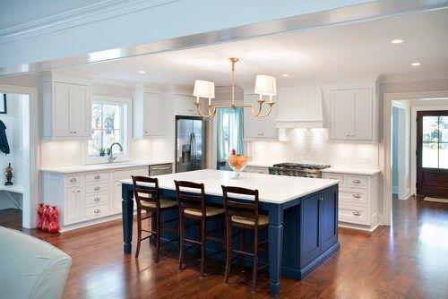 Gorgeous Bright Kitchen With A Dark Blue Island Great Color Blue Kitchen Island Custom Kitchen Island Kitchen Island Cabinets