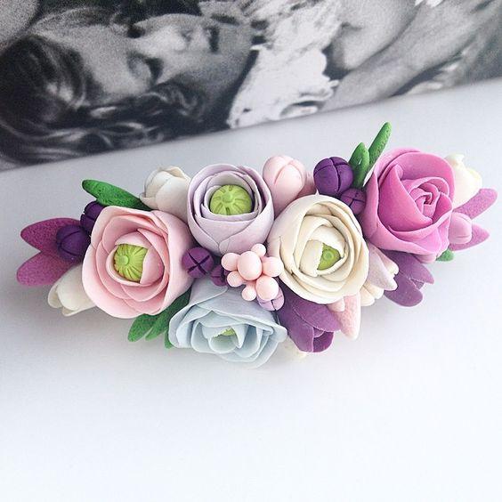 Заколка из полимерной глины #ПолимернаяГлина #ручнаяработа #заколка #цветыизполимернойглины #handmade  #polymerclay