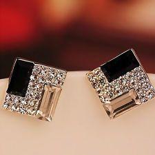 Lady's Fashion Crystal Rhinestone Rectangle Ear Stud Elegant Women's Earrings
