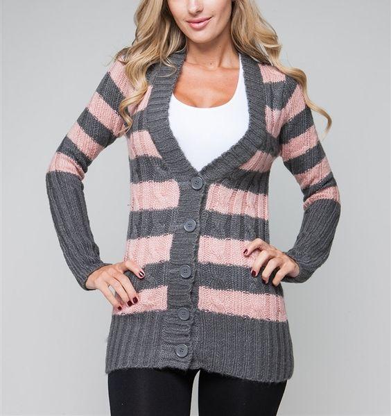 Pink / Grey Stripe Sweater