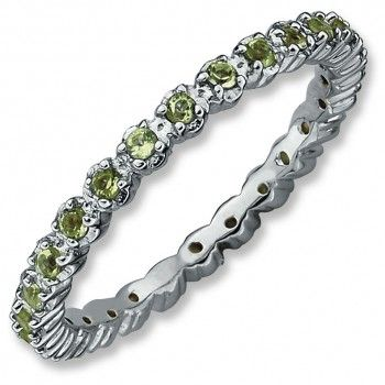Sterling Silver Stackable Expressions Peridot Ring - by Samuels Jewelers