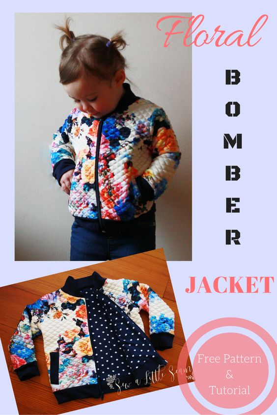 A free tutorial and sewing pattern for a child's bomber jacket.