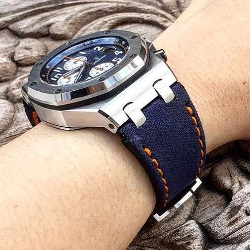 Blue Kevlar Canvas w/ orange stitch for AP Royal Blue price for: $149.99 (1699 jt) without buckle by gunnystore #panerai