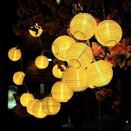 LED Solar Lichterkette Außen Leuchte Lampion Girlande Garten Party Beleuchtung