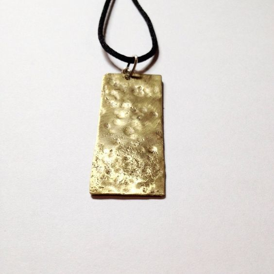 Unique Rectangular Hammered Brass Reversible Pendant (with a Silver Bail) (30.00 CAD) by inkmetalpaint