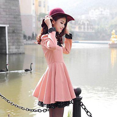Colar redondo das mulheres Apimentar slim manga comprida Mini Dress (com lenços) - BRL R$ 62,80