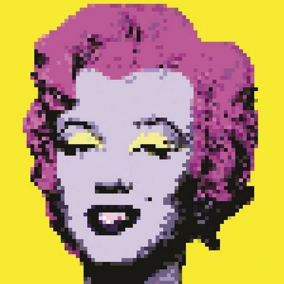 tableau design plexi pixel art marylin yellow 50x50. Black Bedroom Furniture Sets. Home Design Ideas