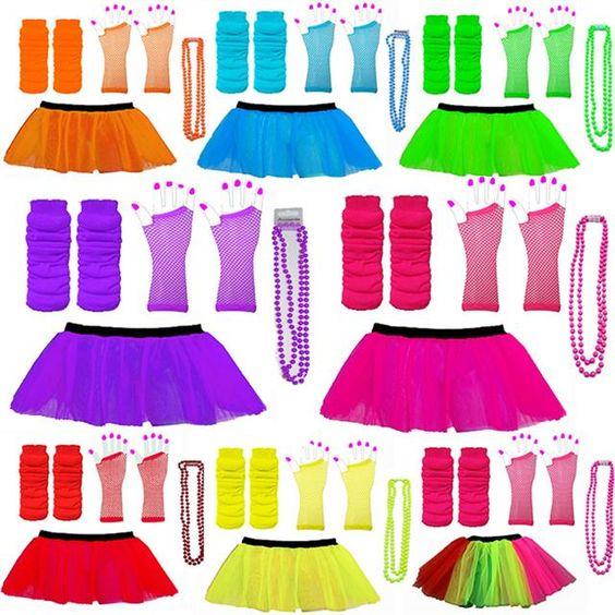 3 LAYER TUTU SKIRTS NEON LEG WARMERS GLOVES BEADS 1980S FANCY DRESS HEN PARTY | eBay