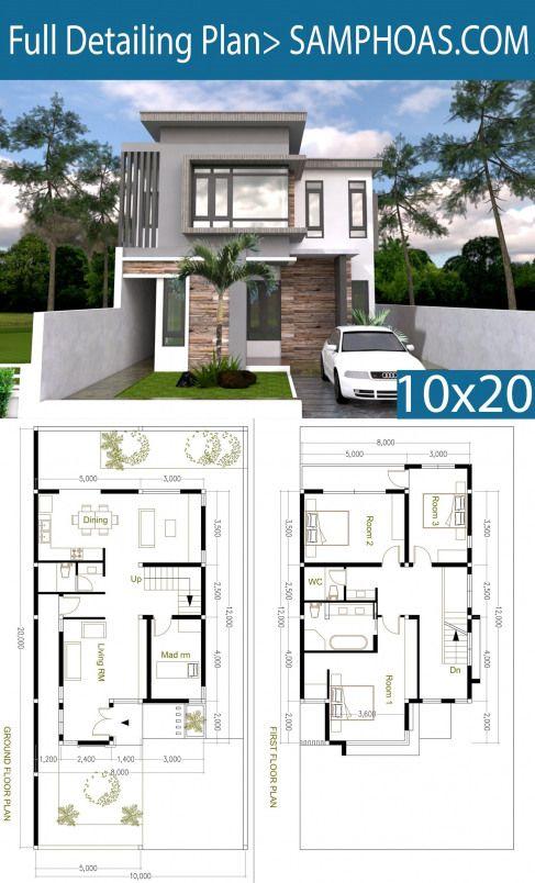 4 Bedroom Modern Home Plan Size 8x12m Samphoas Plan Indianhomes Indian Homes Houses Arsitektur Modern Arsitektur Rumah Indah