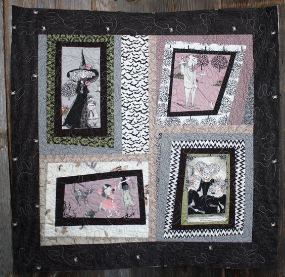 Quilted Halloween Ghastlies Family Wall by TobaccoShedQuilts