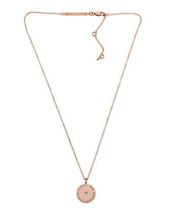 Michael Kors Logo Disc Necklace, Rose Golden.
