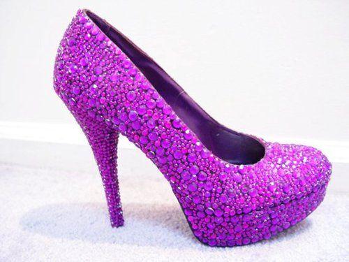 Pink And Purple Shoes | Louboutin Style Pink Purple Rhinestone ...