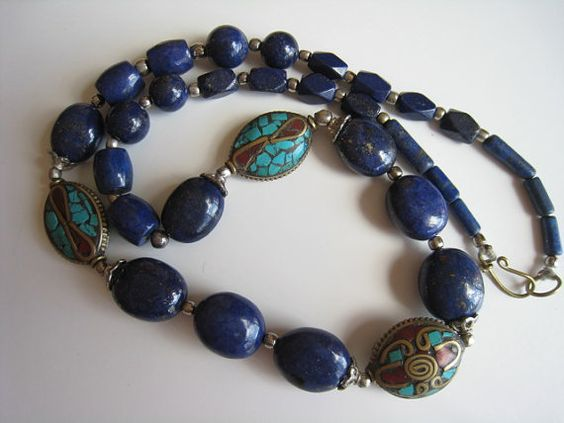 Bohemian Lapis Lazuli Turquoise and Coral Necklace by theatticshop, $30.00
