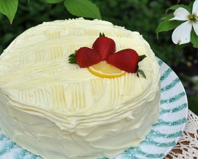 Easy lemon layer cake, very lemony with a delicious lemony cream cheese frosting. Also cherry layer cake, orange layer cake, many variations! Text, photograph and recipe for Southern Belle Lemon Layer Cake © Kitchen Parade, All Rights Reserved.