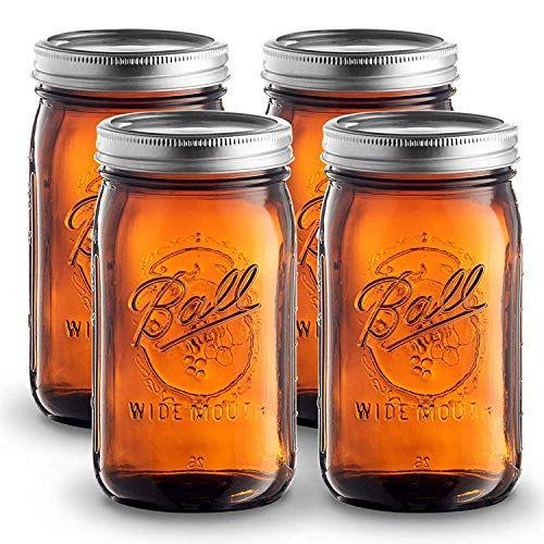 Ball Amber Glass 4 Sewanta Glass Mason Jars Amber Glass Jars Mason Jars