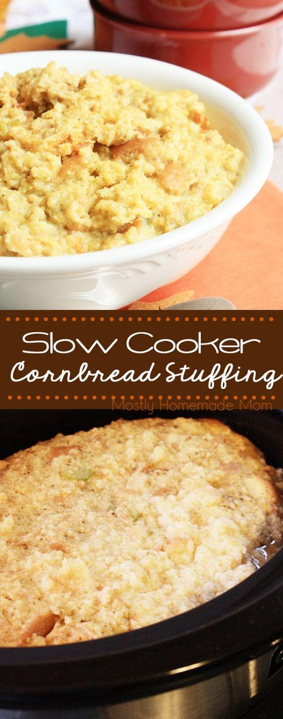 Slow Cooker Cornbread Stuffing - Crumbled cornbread and potato bread ...